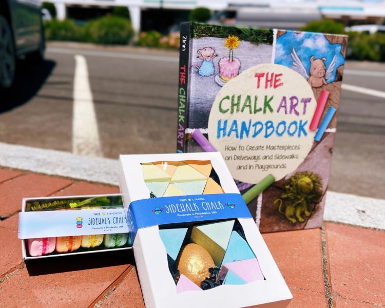 Kids' art supplies on the sidewalk